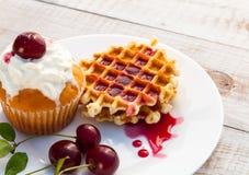 Cakes with cherry Stock Image