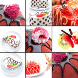 Cakes with Chocolate and Berries. Dessert Collage Royalty Free Stock Photos