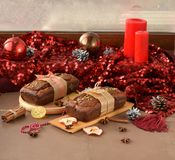 Cakes in christmas style. Cakes with christmas red color decoration royalty free stock image