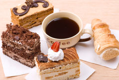 Cakes with coffee Royalty Free Stock Image