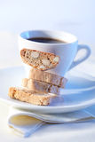 Cakes with coffee on background Royalty Free Stock Photo
