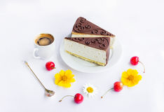 Cakes, coffee, cherries and flowers Royalty Free Stock Images