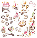Cakes, coffee, pralines Royalty Free Stock Photos