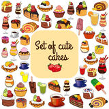 Cakes, coffee and tea. Royalty Free Stock Photo