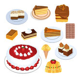 Cakes collection. Illustration of different cakes and desserts of all colors and tastes Stock Photo
