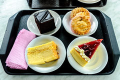 Cakes collection of samples in the Cameron Highlands in Malaysia Stock Photos