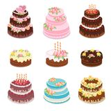 Cakes collection. Set of different types sweet baked cakes - chocolate cake, birthday and wedding celebration cakes. royalty free stock photos
