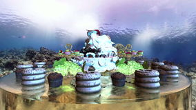 Cakes collection under the ocean loop. Cakes collection over cylinder table under the ocean loop stock footage