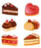 Cakes collection. Collection of various cakes, isolated on white background Stock Photography