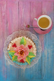 Cakes on color background Stock Images