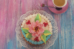 Cakes on color background Stock Photography