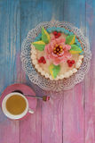 Cakes on color background Royalty Free Stock Images