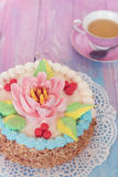 Cakes on color background Stock Image