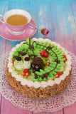 Cakes on color background Stock Photos
