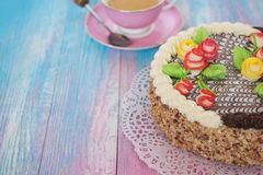 Cakes on color background Royalty Free Stock Photo