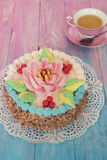 Cakes on color background Royalty Free Stock Photography