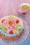 Cakes on color background Royalty Free Stock Image