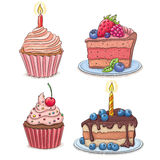 Cakes. Contains transparent objects. EPS10 Stock Photography
