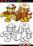 Cakes and cookies for coloring. Coloring Book or Page Cartoon Illustration of Sweet Food like Cakes and Cookies and Buns for Children Education vector illustration