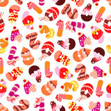 Cakes and cookies numbers seamless pattern Royalty Free Stock Photo