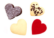 Cakes and cookies in the shape of heart close Stock Photos