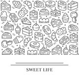 Cakes and cookies theme horizontal banner. Pictograms of pie, brownie, biscuit, tiramisu, roll and other dessert related. Elements Line out symbols Simple Royalty Free Stock Image