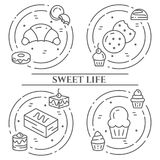 Cakes and cookies theme horizontal banner. Pictograms of pie, brownie, biscuit, tiramisu, roll and other dessert related elements stock illustration