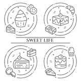 Cakes and cookies theme horizontal banner. Pictograms of pie, brownie, biscuit, tiramisu, roll and other dessert related elements royalty free illustration