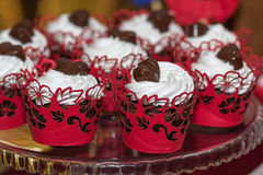 Cakes with cream and chocolate close-up Royalty Free Stock Image