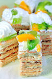 Cakes with cream and fruit Stock Photos