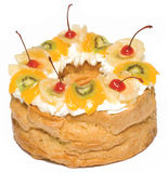 Cakes with cream and fruits. On white background Royalty Free Stock Image