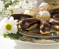 Cakes - cream puffs and eclairs Stock Image