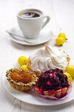 Cakes and cup of coffee Royalty Free Stock Images