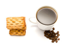 Cakes and cup of coffee with grains Stock Photos