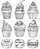 Cakes and cupcakes baked chocolate dessert, bakery set, black and white. Vector illustration vector illustration