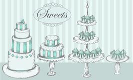 Cakes, cupcakes and cake pops. Collection of  cakes, cupcakes and cake pops Stock Photography