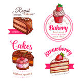 Cakes and cupcakes dessert vector emblems Royalty Free Stock Photo