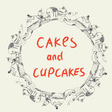 Cakes and cupcakes frame for the bakery or cafe Stock Images
