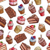 Cakes, cupcakes, muffins. Patisserie pattern Stock Photos