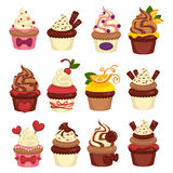 Cakes and cupcakes pastry or bakery vector template icons. Cupcakes and cakes logo templates. Bakery desserts chocolate and fruit muffins for patisserie and cafe Stock Images