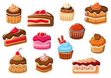 Cakes, cupcakes, pies, pudding and desserts Stock Images