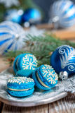 Cakes with decoration in the form of snowflakes. Royalty Free Stock Photo