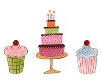 Cakes. Decorative elements. Artistic work. Watercolours on paper Stock Photos