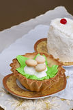 Cakes with decorative mushrooms Stock Photos