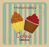 Cakes delicious. Over grunge background vector illustration Royalty Free Stock Photography