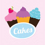 Cakes delicious. Over pink background vector illustration Stock Photo