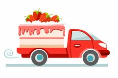 Cakes, delivery, coloured picture. The red car carries the strawberry cake. Production and delivery of cakes. Color flat illustration on white background Royalty Free Stock Image
