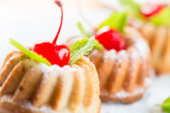 Cakes dessert with cherry Stock Image