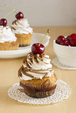 Cakes. Dessert with sweet cherry and whipped cream Stock Photo