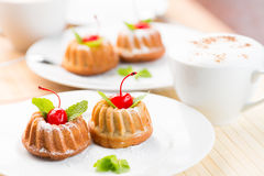 Free Cakes Dessert With Cappuccino Coffee Cup Royalty Free Stock Photo - 39679115